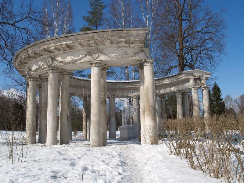 Pavlovsk La columnata de Apolo en el invierno fotos de archivo libres de regalías