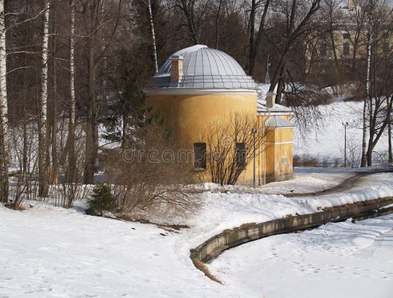 Pavlovsk Paviljoen Koud bad in de winter royalty-vrije stock foto's