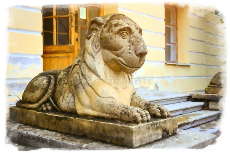 Pavlovsk, Rússia Escultura de um leão de reclinação ilustração stock