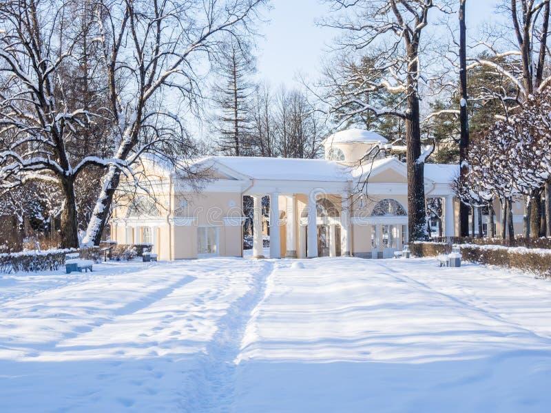 Pavlovsk, St Petersburg Rosja, Luty, - 08, 2018: Widok śnieżysty Różowy pawilon na terytorium Pavlovsk park wewnątrz obraz stock