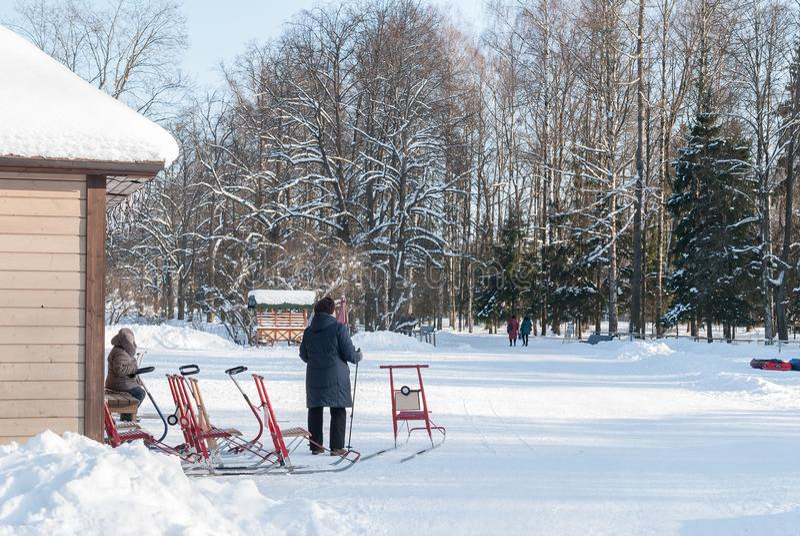 Pavlovsk, St Petersburg, Rusia - 8 de febrero de 2018: Alquiler en el parque del invierno Gente que alquila el trineo en Pavlovsk foto de archivo