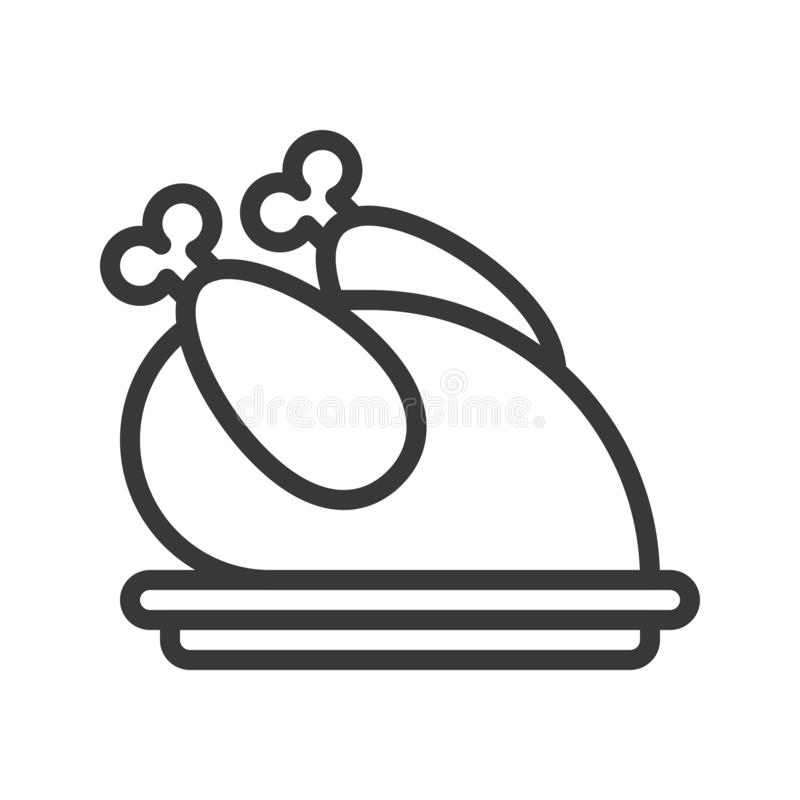 Pavo asado horno, sistema del tema de la Feliz Navidad, esquema editable libre illustration