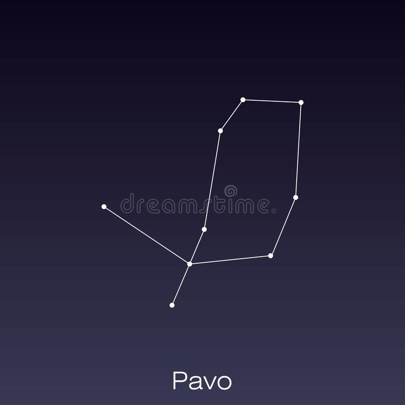 Constellation as it can be seen by the naked eye. Pavo constellation as it can be seen by the naked eye stock illustration