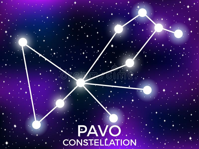 Pavo constellation. Starry night sky. Cluster of stars and galaxies. Deep space. Vector. Illustration royalty free illustration
