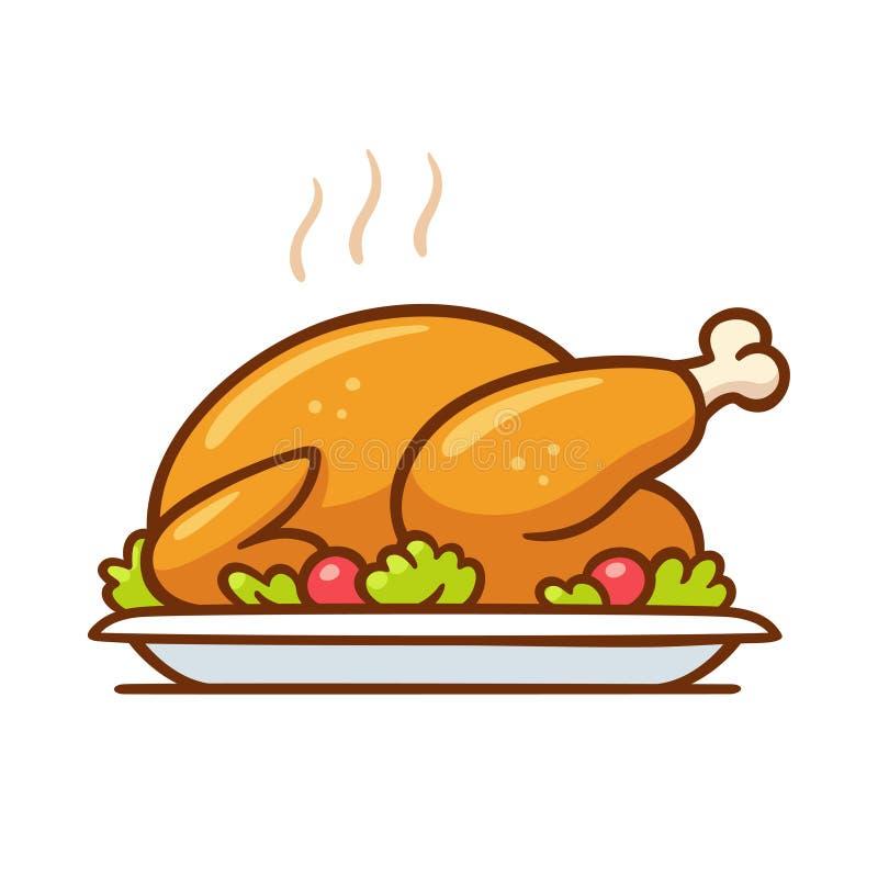 Pavo de la carne asada o cena del pollo stock de ilustración