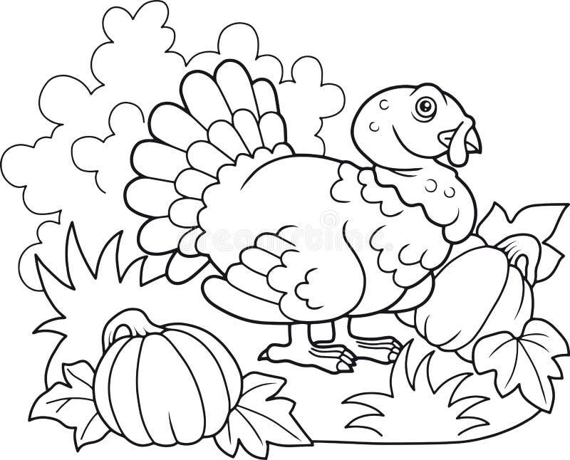 Pavo gordo que camina en la granja stock de ilustración