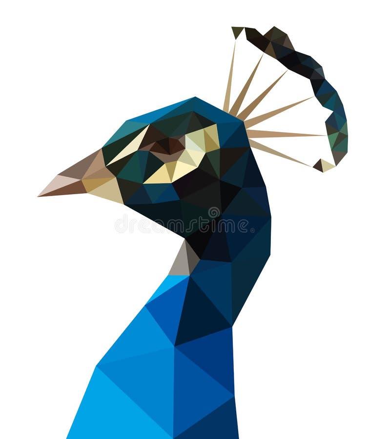 Pavo real bajo del azul del polígono stock de ilustración