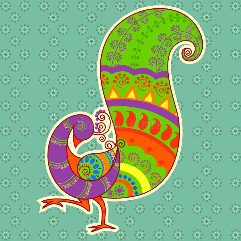 Pavo real colorido en estilo indio del arte stock de ilustración