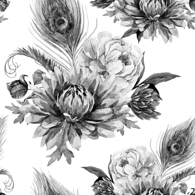 Pavo real de la acuarela y modelo de flores ilustración del vector