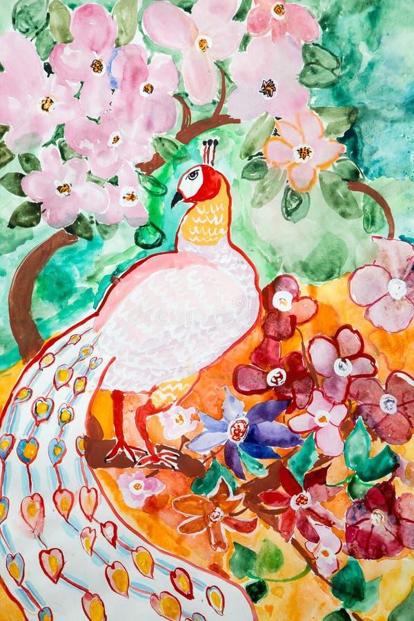 Pavo real debajo de los arbustos en el jardín ilustración del vector