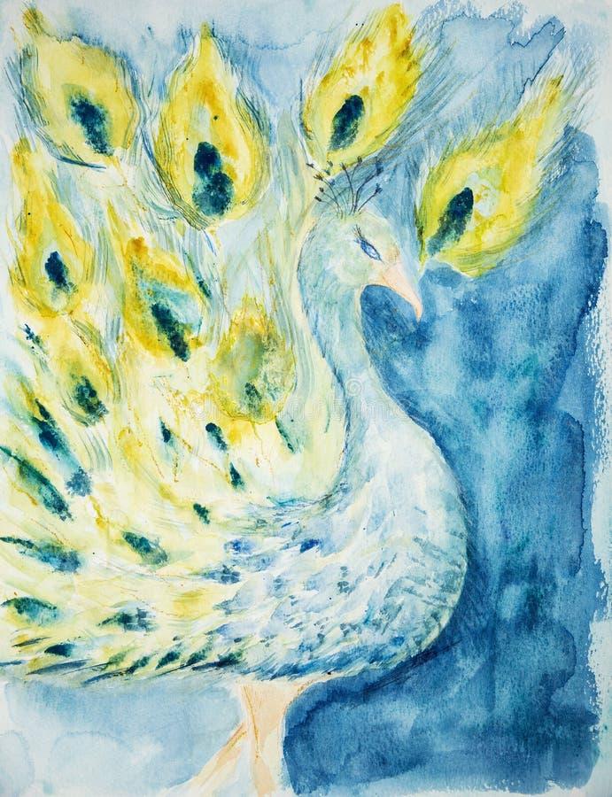 Pavo real en un fondo azul libre illustration