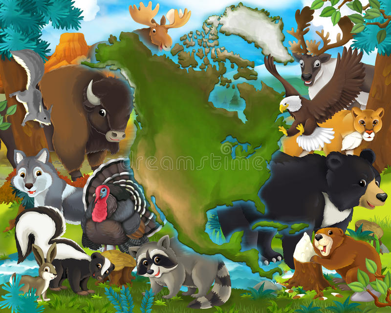 Pavo y otro de la mofeta del búfalo del lobo del águila de los animales de la historieta - Norteamérica stock de ilustración