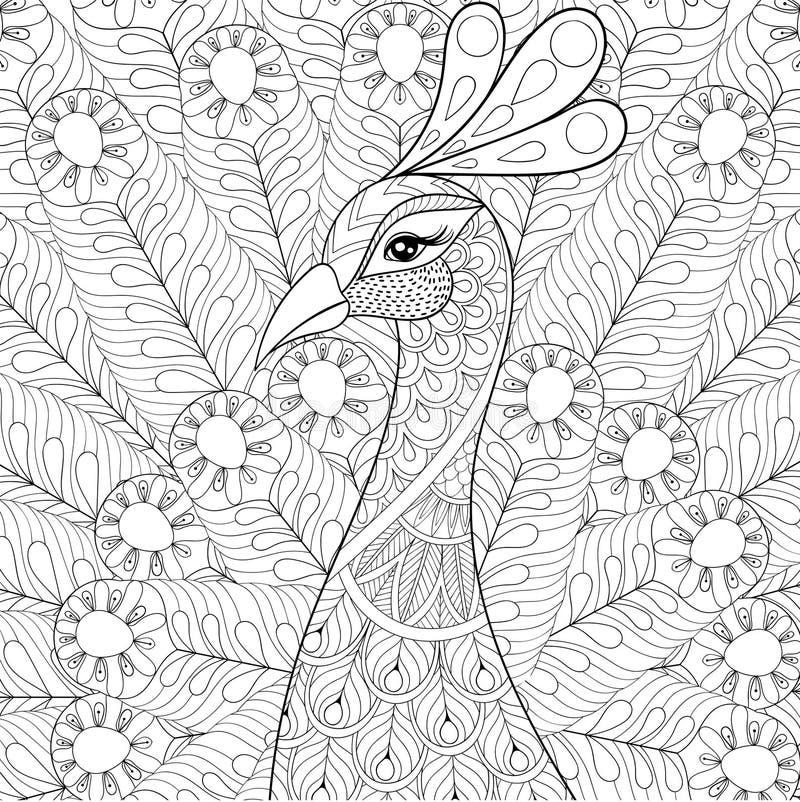 Pavone con le piume nello stile dello zentangle Schizzo a mano libera royalty illustrazione gratis