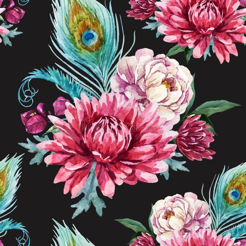 Pavone dell'acquerello e modello di fiori illustrazione di stock