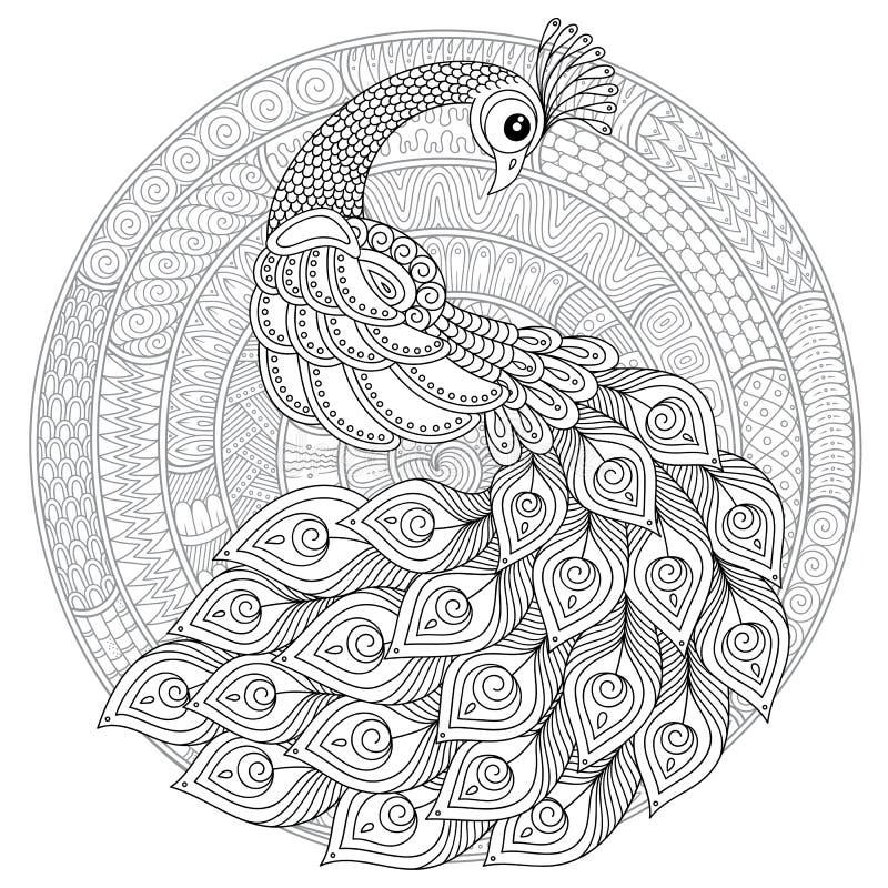 Pavone nello stile dello zentangle Pagina antistress adulta di coloritura royalty illustrazione gratis