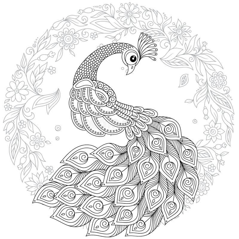 Pavone nello stile dello zentangle Pagina antistress adulta di coloritura illustrazione di stock
