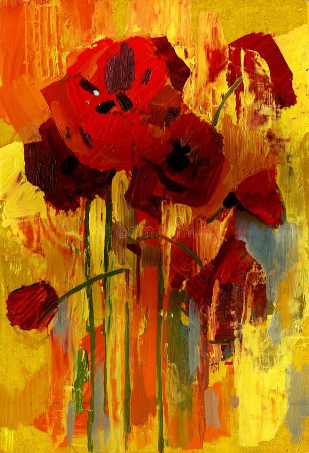 Pavot de peinture à l'huile illustration libre de droits