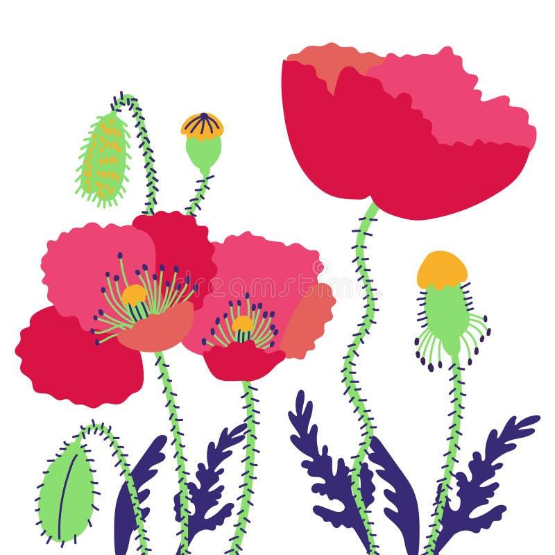 Pavots de composition florale Fleurs lumineuses d'été de champ avec des bourgeons illustration libre de droits
