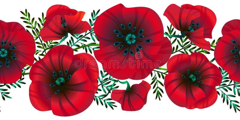 Pavots de fleurs sans couture horizontales de fond, feuilles et bourgeons rouges lumineux, illustration de vecteur, illustration stock