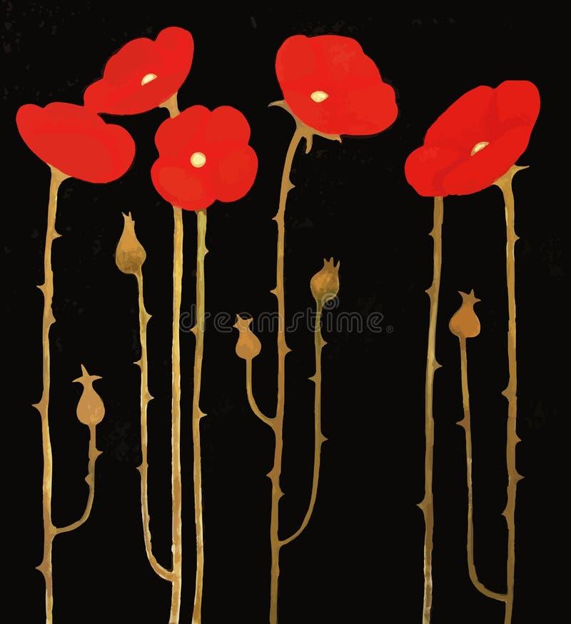 Pavots rouges fleurissants sur le fond noir, illustration de peinture illustration libre de droits