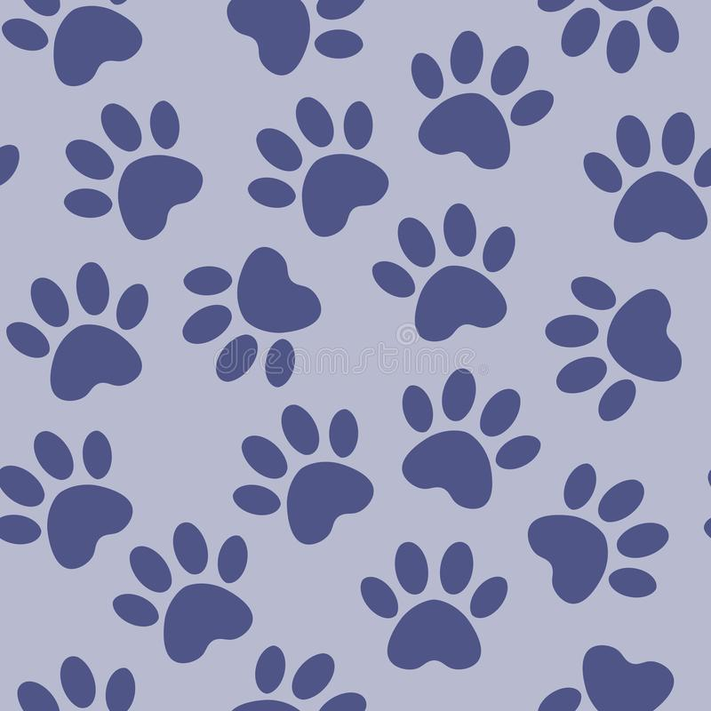 Paw blue print seamless. Vector illustration animal paw track pattern. backdrop with silhouettes of cat or dog footprint stock illustration
