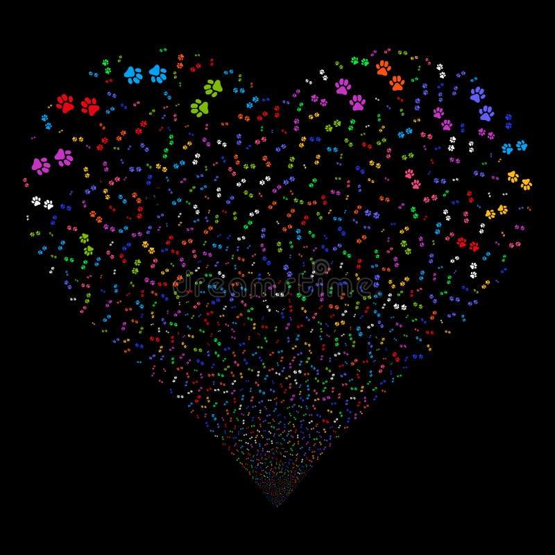 Paw Footprints Fireworks Heart royalty illustrazione gratis