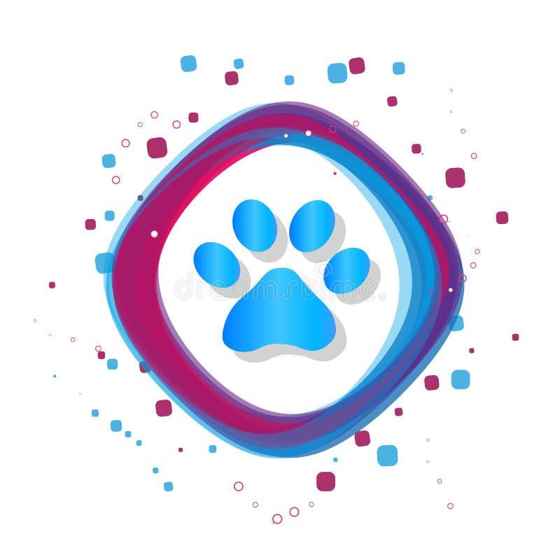 Paw Icon animal - ilustração colorida moderna do vetor - isolado no fundo branco ilustração do vetor