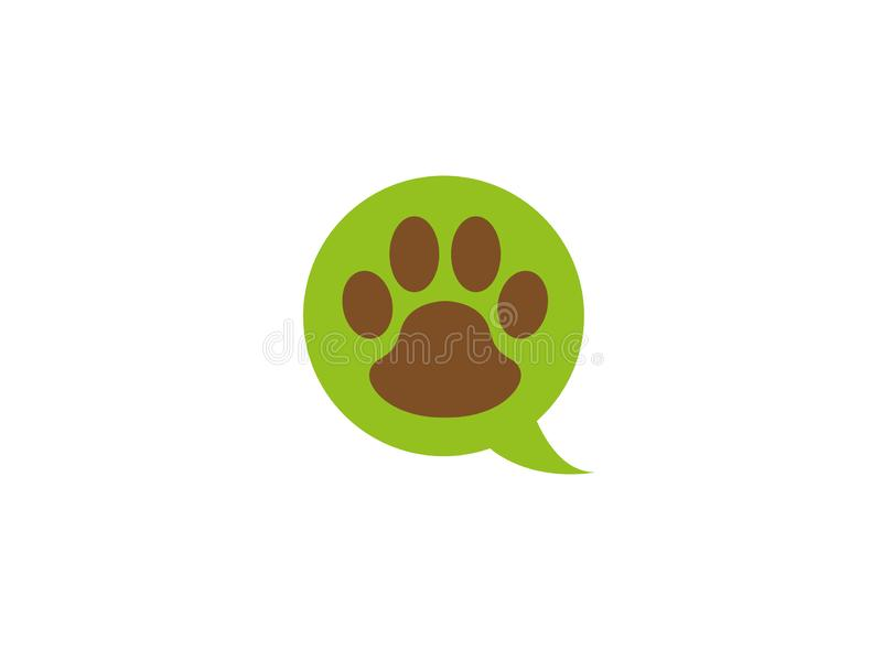 Paw inside an chat icon and footprint symbol for logo design royalty free illustration