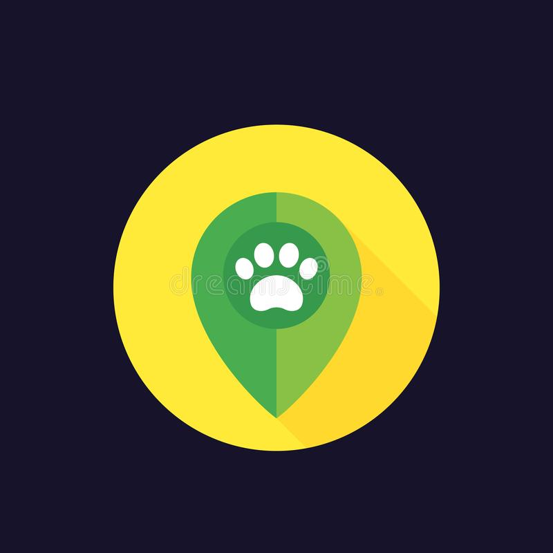 Paw and location marker icon. Eps 10 file, easy to edit vector illustration