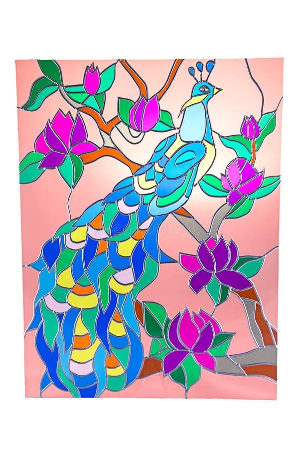 Paw na drzewie - witraż zdjęcie royalty free