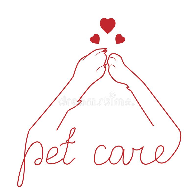 Free Paw Of A Cat And A Dog Connected Together, Linear Silhouette. Friendship Between Pets, Caring For Pets. Vector Illustration Stock Photography - 184220432