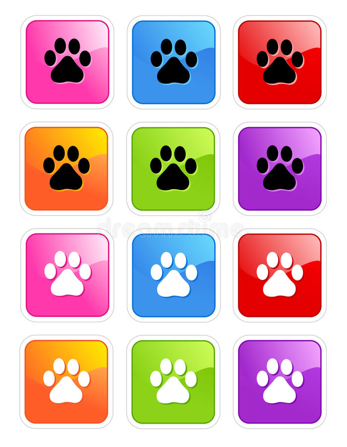 Paw print. Cute pets [dogs and cats] paw print web icons isolated on white background vector illustration