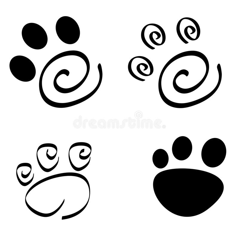 Paw print. Cute pets [dogs and cats] paw print isolated on white background vector illustration