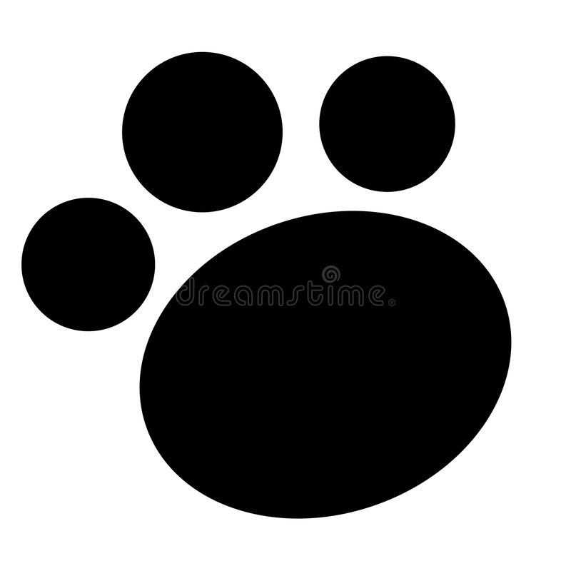 Paw print. Cute pets [dogs and cats] paw print isolated on white background royalty free illustration