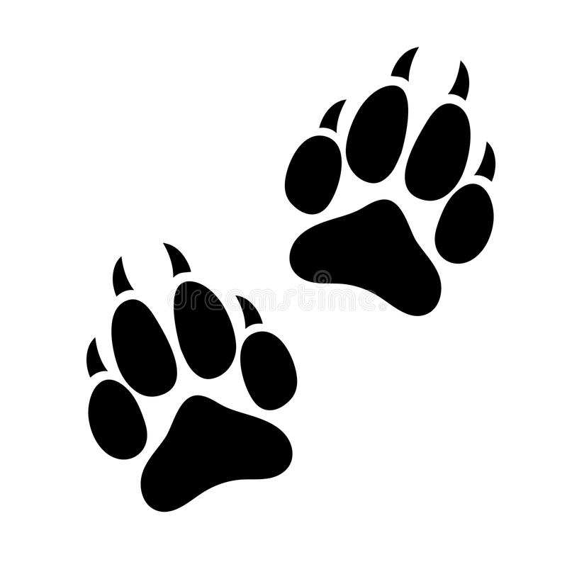 Paw print animal dog or cat clawed, silhouette footprints of an animal, flat icon, logo, black traces isolated on white background vector illustration