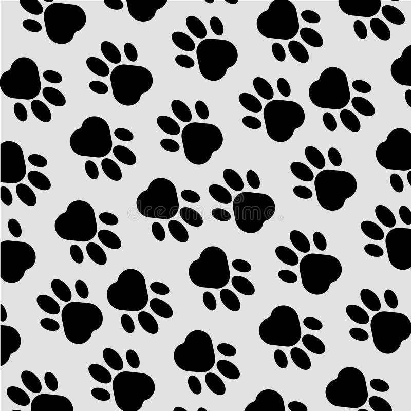 Paw Print Background Empreinte de pas Fond sans couture avec l'empreinte de pas du chien, animal Illustration de vecteur illustration stock