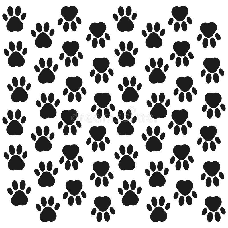Paw Print Background Empreinte de pas Fond sans couture avec l'empreinte de pas du chien, animal Illustration de vecteur illustration libre de droits