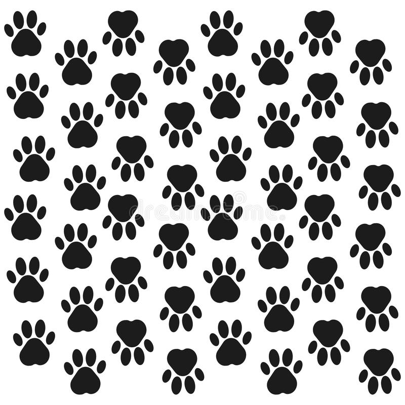 Paw Print Background Huella Fondo inconsútil con la huella del perro, animal Ilustración del vector libre illustration