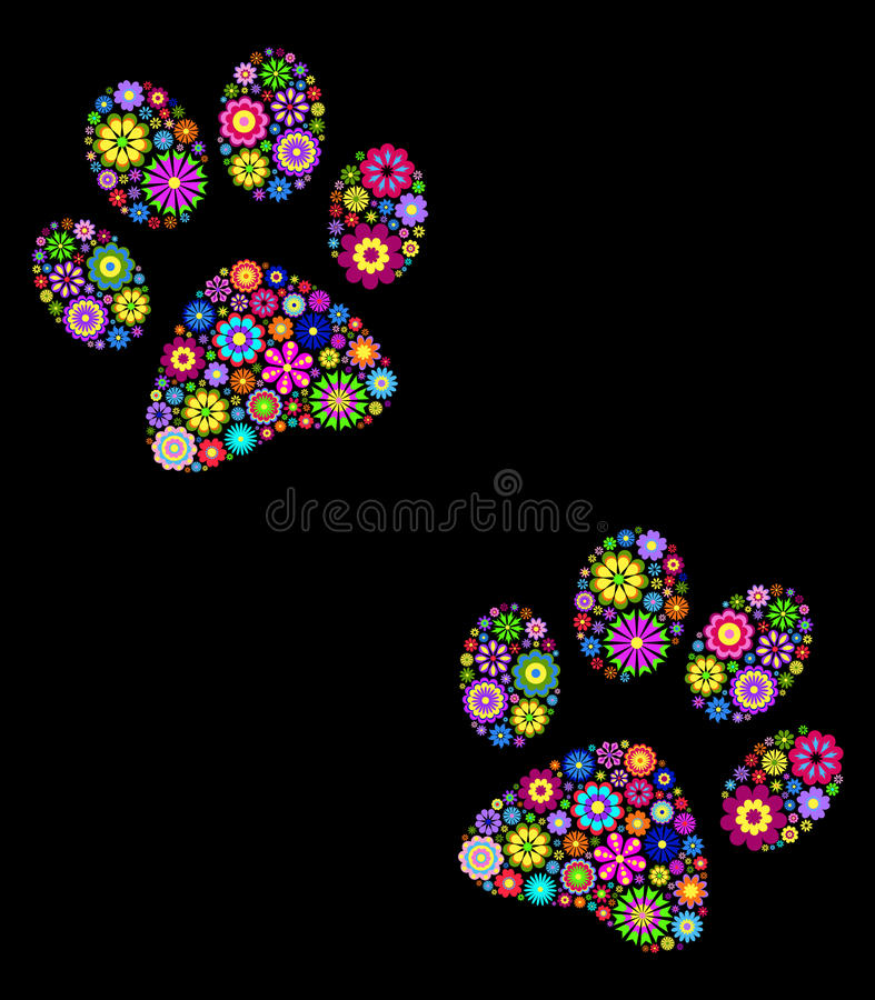Paw print on black background. Vector illustration of floral animal paw print on black background