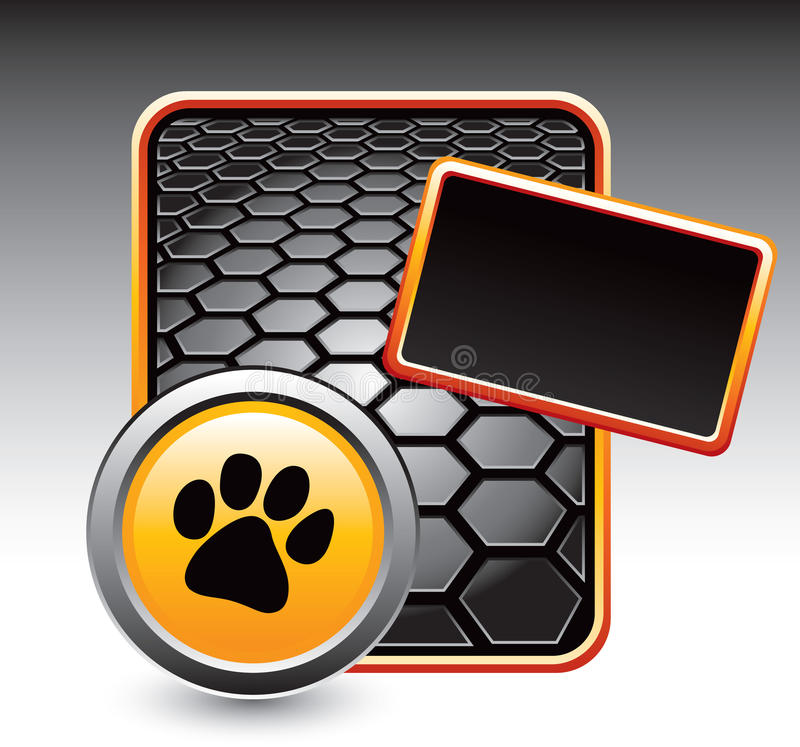 Paw print on black hexagon advertisement vector illustration
