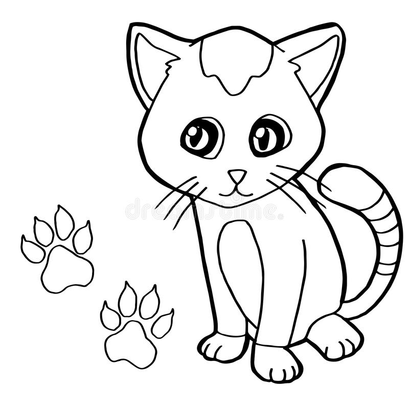 Download Paw Print With Cat Coloring Page Vector Stock