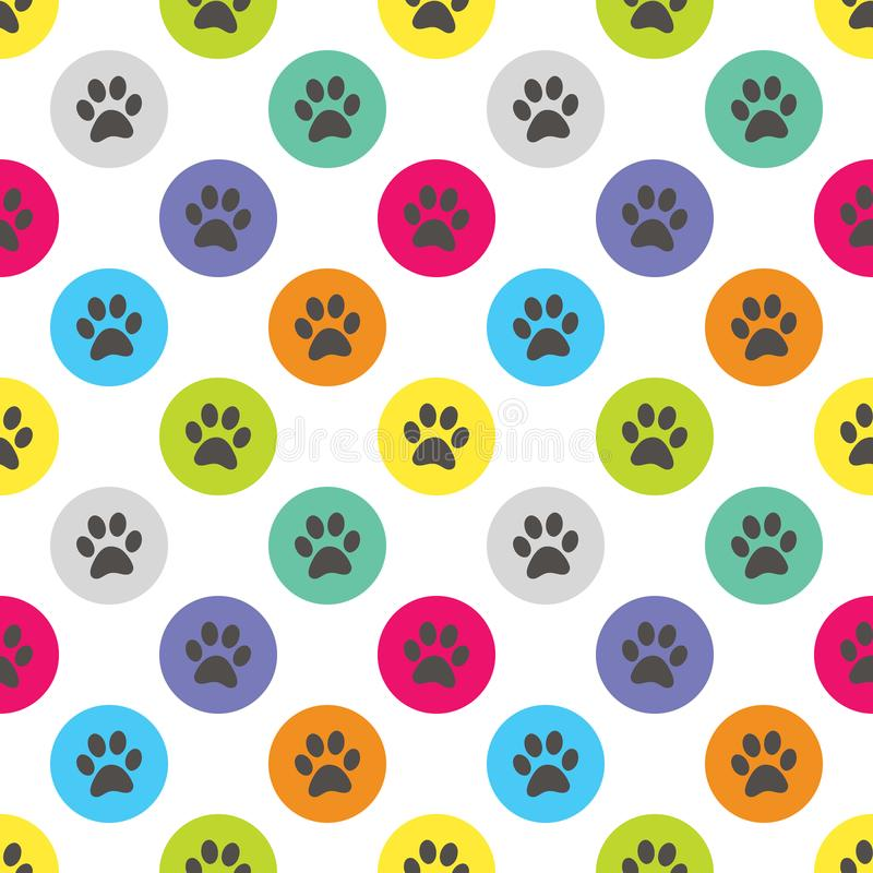 Paw Print in Circle Polka Dot Retro Seamless Pattern Vector Illustration. All elements are grouped together logically and easy to edit vector illustration
