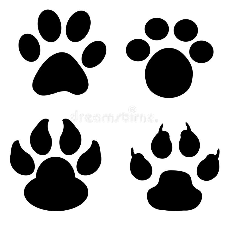 Paw print collection (vector) royalty free illustration