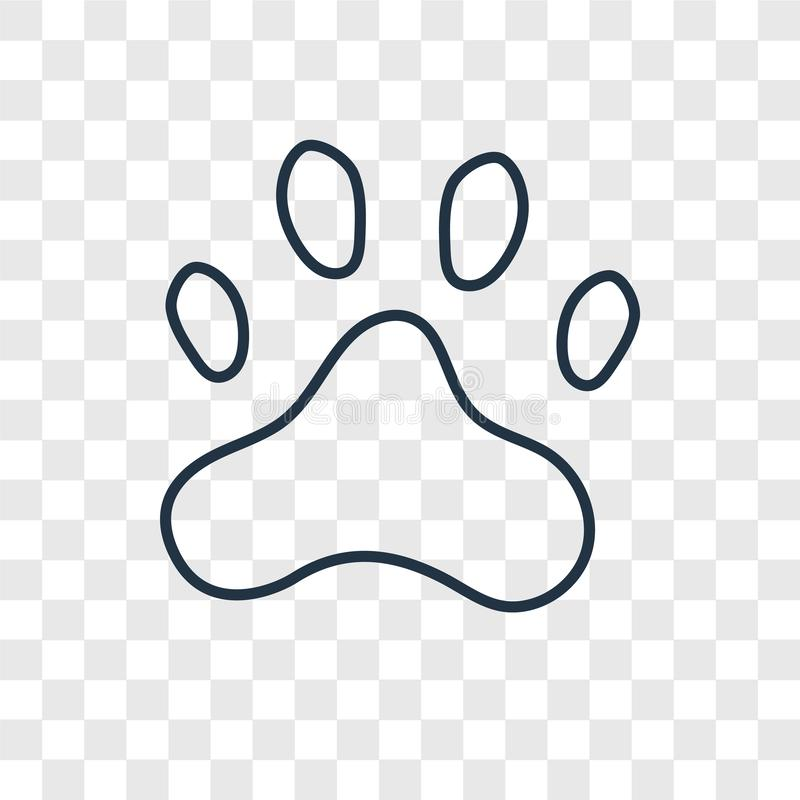 Paw print concept vector linear icon isolated on transparent background, Paw print concept transparency logo in outline style. Paw print concept vector linear stock illustration