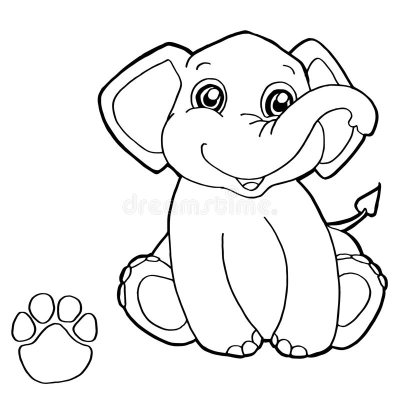 Download Paw Print With Elephant Coloring Page Vector Stock