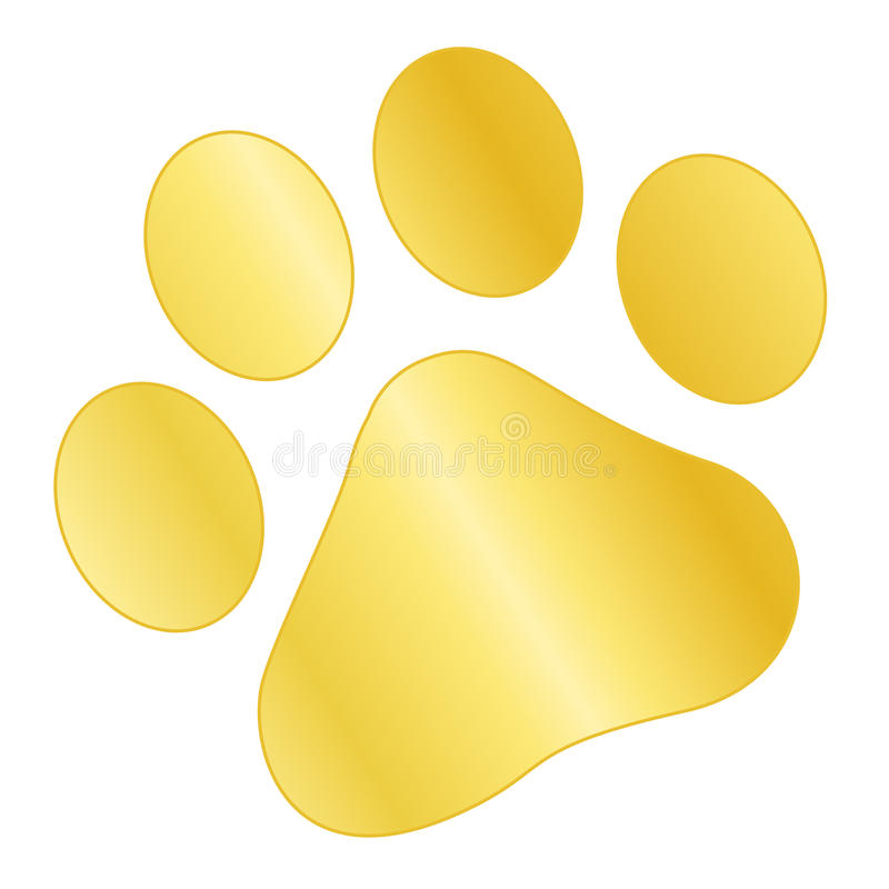 Paw print gold. Cute pets [dogs and cats] paw print isolated on white background vector illustration