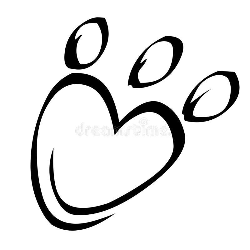 Paw print and heart vector illustration vector illustration