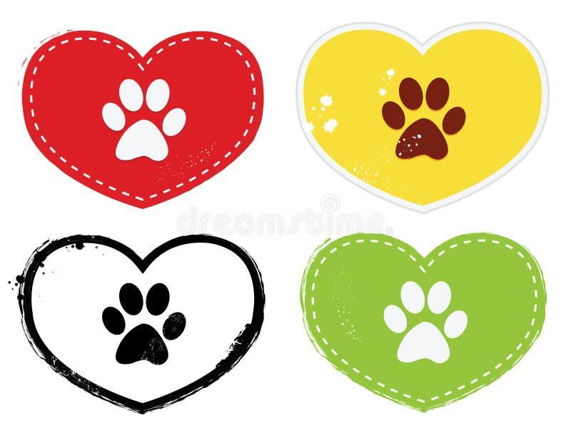 Paw Print Icons. Set of paw print icons royalty free illustration