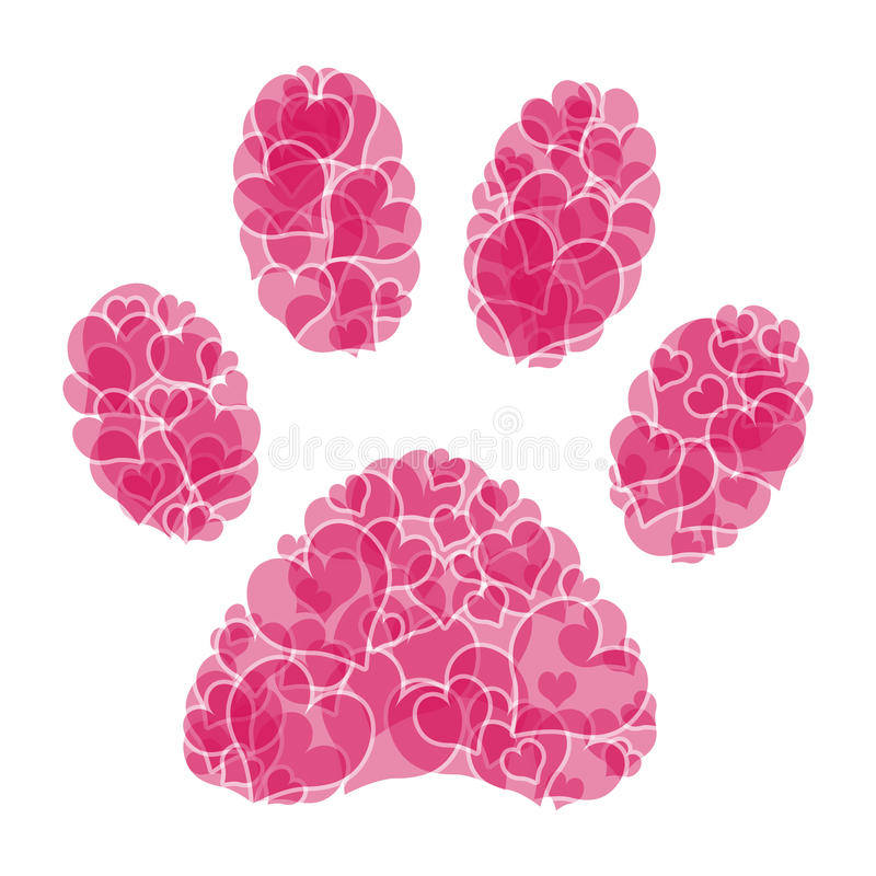 Paw print. Illustration of heart paw print on a white background vector illustration