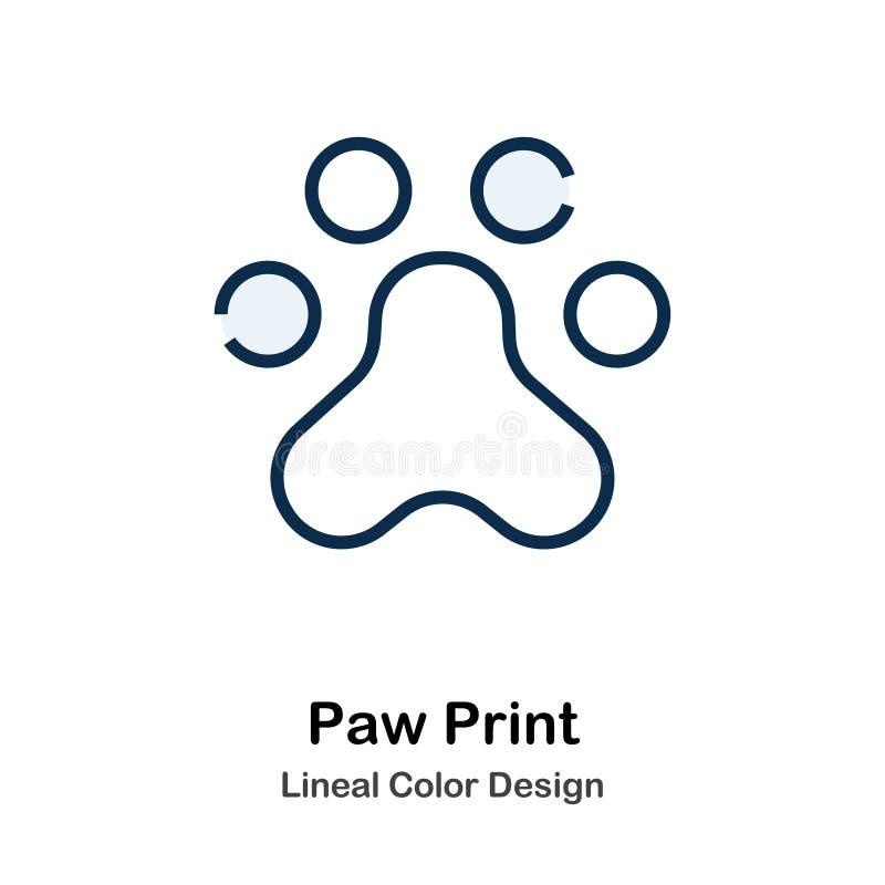 Paw Print Line Color Icon vektor abbildung